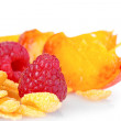 Tasty cornflakes and fruit - Stock Photo