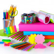 Bright stationery and books - Stock Photo