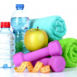 Towel, dumbbells and water bottle — Stock Photo #6793164