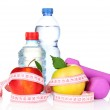 Towel, apple with measure tape, dumbbells and water bottle isola — Stock Photo #6793243