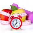 Alarm clock, apple and dumbbell — Stock Photo