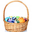 Bright balls of thread in basket — Stock Photo