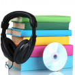 Headphones on books — Stock Photo