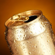 Royalty-Free Stock Photo: Cans on a yellow background