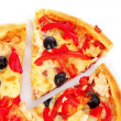 Pizza with olives and tomatoes closeup — Stock Photo #6793647