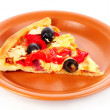 Pizza with olives on plate isolated on white — Stock Photo #6793664