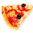 Pizza with olives and tomatoes closeup — Stock Photo #6793682
