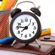Stock Photo: Alarm clock and stationary