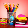 Stationery on red background — Stock Photo #6794042