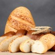 Rye and white bread and buns — Stock Photo