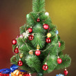 Royalty-Free Stock Photo: Beautiful Christmas tree and gifts on wooden table