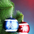 Beautiful Christmas balls on fir tree — Stock Photo
