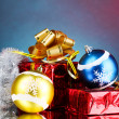 Beautiful Christmas balls on blue background - Foto Stock