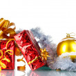 Royalty-Free Stock Photo: Beautiful gifts with gold bows and Christmas ball