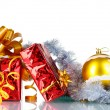 Beautiful gifts with gold bows and Christmas ball - Lizenzfreies Foto