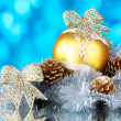 Beautiful Christmas ball, cones and tinsel - Stock fotografie