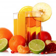 Fruits and glasses with juice isolated on white — Stock Photo #6794555
