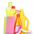 Stock Photo: Detergent bottles and sponges
