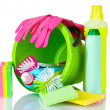 Detergent bottles, brushes, gloves and sponges in bucket — Stock Photo #6794721