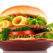 Stock Photo: Hamburger isolated on white