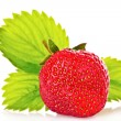 Stock Photo: Strawberry with green leaves isolated on white