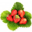 Strawberry with green leaves isolated on white — Stock Photo