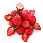 Many strawberries isolated on white — Stock Photo