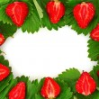 Many strawberries and leaves makes frame — Stock Photo #6795937