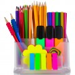 Royalty-Free Stock Photo: Bright pens, pencils and markers in holder