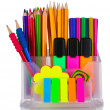 Bright pens, pencils and markers in holder — Stock Photo