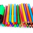 Foto Stock: Bright markers and crayons