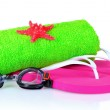 Glasses for swimming and towel — Stock Photo #6797149