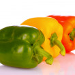 Stock Photo: Three bell peppers isolated on white