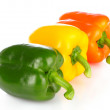 Three bell peppers isolated on white — Stock Photo