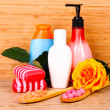 Rose, soap, bath salt and towel — Stock Photo #6797919