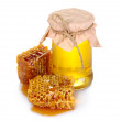 Beautiful combs and honey - Stock Photo