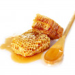 Beautiful combs, spoon and honey - Stok fotoğraf