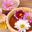 Pink and white flowers floating in bowl — Stock Photo #6799265