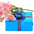 Royalty-Free Stock Photo: Beautiful gift and flowers