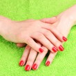 Beautiful hands with red manicure — Stock Photo #6799615