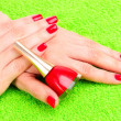 Beautiful hands with red manicure — Stock Photo #6799641