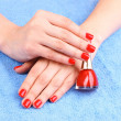 Beautiful hands with red manicure — Stock Photo #6799667
