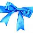Gift blue ribbon and bow isolated on white background — Stock Photo