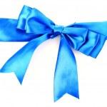 Geschenk Blue Ribbon und Bogen isoliert auf weißem Hintergrund — Stockfoto
