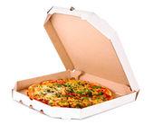 Tasty Italian pizza over white — Stock Photo