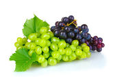 Ripe grapes isolated on white — Stock Photo