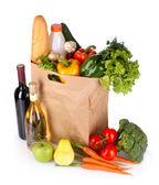 野菜と紙袋ワイン — ストック写真
