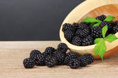 Beautiful blackberries in wooden bowl — Stock Photo