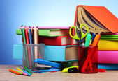 Bright stationery and books — Foto de Stock