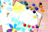 Children's drawings and paint — Stock Photo